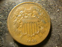 1864  VF EXTRA FINE  SOLID TWO CENTS 2 CENTS PIECE  FLAN HZX