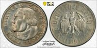 1933 G GERMANY 2 MARK MARTIN LUTHER PCGS UNC DETAILS LOTG1143 SILVER