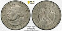 1933 D GERMANY 2 MARK MARTIN LUTHER PCGS MS62 LOTG1154 SILVER  NICE UNC
