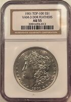 1901 DOUBLED DIE REVERSE MORGAN DOLLAR - VAM-3 DDR FEATHERS TOP 100 - NGC AU-55