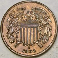 1864 TWO CENT PIECE LARGE MOTTO W/GORGEOUS BEAUTIFUL TONING MOTTO SHIELD WREATH