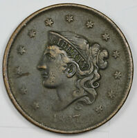 1837 LARGE CENT.  HEAD OF 1838.  VF.  161042