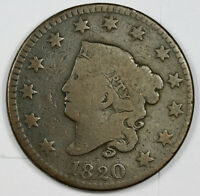 1820 LARGE CENT.  LARGE DATE.  GOOD.  161029