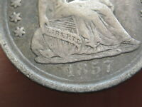 1857 P SEATED LIBERTY HALF DIME, FINE DETAILS