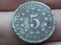 1873 SHIELD NICKEL 5 CENT PIECE- CLOSED 3, GOOD DETAILS