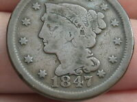 1847 BRAIDED HAIR LARGE CENT PENNY- VG DETAILS