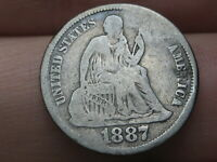 1887 S SEATED LIBERTY SILVER DIME- GOOD/VG DETAILS