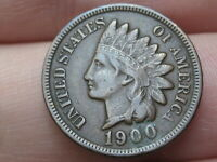 1900 INDIAN HEAD CENT PENNY- EXTRA FINE  DETAILS