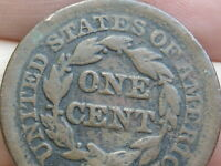 1852 BRAIDED HAIR LARGE CENT PENNY- VG/FINE DETAILS