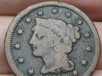 1847 BRAIDED HAIR LARGE CENT PENNY- FINE DETAILS