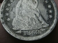 1853 P SILVER SEATED LIBERTY DIME- WITH ARROWS, FINE/VF DETAILS