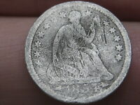 1854 P SEATED LIBERTY HALF DIME- WITH ARROWS, VG OBVERSE DETAILS