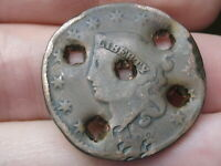 1832 MATRON HEAD LARGE CENT PENNY- LARGE LETTERS, HOLED 5 TIMES