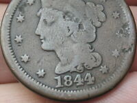 1844 BRAIDED HAIR LARGE CENT PENNY, NORMAL DATE, GOOD/VG DETAILS