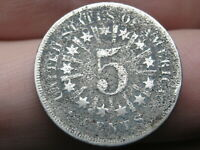 1866 SHIELD NICKEL 5 CENT PIECE- WITH RAYS- VG DETAILS