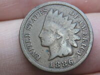 1886 INDIAN HEAD CENT PENNY, VARIETY 2, VAR 2, T2, TYPE 2, VG DETAILS