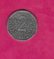 FRANCE FRENCH KM942.1 1981 EXTRA FINE -AU SUPER FINE- LARGE OLD 2 FRANC COIN