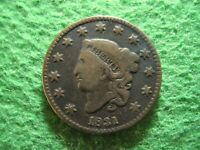 1831 CORONET HEAD LARGE CENT  -  CIRCULATED