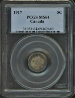 1917 SILVER 5 CENTS PCGS MS64 TONED