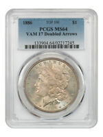 1886 $1 PCGS MINT STATE 64 VAM-17 DOUBLED ARROWS - MORGAN SILVER DOLLAR