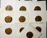 1950D   1968 TEN PC ERROR LINCOLN CENT MIXED DATE COLLECTION