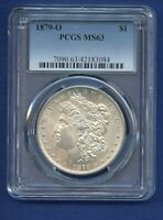 1879 O PCGS MINT STATE 63 MORGAN SILVER DOLLAR $1 US MINT 1879-O PCGS MINT STATE 63 PQ COIN