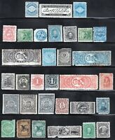 THIRTY TWO 1862 U.S. MATCH & MEDICINE STAMPS