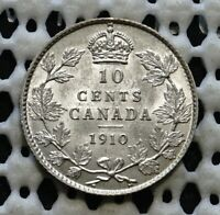 1910 CANADA SILVER TEN CENT COIN  KING EDWARD VII  UNC NICE LUSTROUS DIME