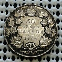 1907 CANADA FIFTY CENT COIN  KING EDWARD VII  NICE LUSTROUS SILVER HALF DOLLAR