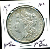 1879 P AU MORGAN DOLLAR 100 CENT  ABOUT UNCIRCULATED 90 SILVER US $1 COIN 3985