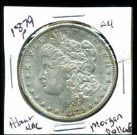 1879 P AU MORGAN DOLLAR 100 CENT  ABOUT UNCIRCULATED 90 SILVER US $1 COIN 3975