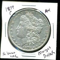 1879 P AU MORGAN DOLLAR 100 CENT  ABOUT UNCIRCULATED 90 SILVER US $1 COIN 3972