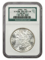 1886 $1 NGC MINT STATE 68 EX: BINION COLLECTION - MORGAN SILVER DOLLAR