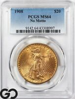 1908 MS64 DOUBLE EAGLE $20 GOLD ST GAUDENS PCGS MINT STATE 6