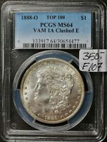 1888-O MORGAN SILVER DOLLAR. VAM 1A CLASHED E.  IN PCGS HOLDER.   MINT STATE 64   F107
