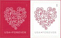 100 LOVE FOREVER HEARTS  2015    5 SHEETS OF 20 STAMPS MNH