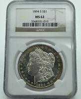 1894-S NGC MINT STATE 62 MORGAN SILVER DOLLAR GREAT LUSTER & GOLDEN TONING