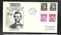 US FDC FIRST DAY COVER LUMIMISCENT TAGGED LINCOLN  1965  FLE