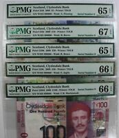 Click now to see the BUY IT NOW Price! SCOTLAND CLYDESDALE BANK 100 50 20 10 5 POUNDS P 229M PMG GEM SERIAL NUMBER  6