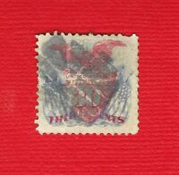US 121 THIRTY CENT 1869 PATRIOTIC FLAG ISSUE SMALL EDGE FAUL
