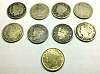 NINE LIBERTY V NICKEL LOT   ONE GOLD PLATED