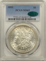 1893 MORGAN DOLLAR - PCGS MINT STATE 62, CAC APPROVED CHOICE & PREMIUM QUALITY