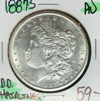 1887-S MORGAN SILVER DOLLAR  AU  HAIRLINES  COIN REF D/D