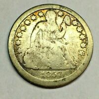 1857 SEATED LIBERTY DIME 90  SILVER