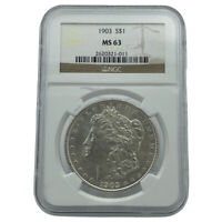 1903-P NGC MINT STATE 63 MORGAN SILVER DOLLAR BLAST WHITE COIN