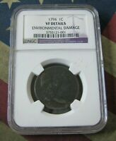 1794 LIBERTY CAP LARGE CENT 1C COIN NGC VF DETAILS -  COIN - BINO