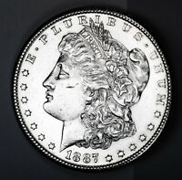 1887-S MORGAN SILVER DOLLAR.  FULL CHEST FEATHERS.  HIGH GRADE.  INVENTORY A