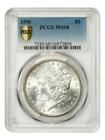 1896 $1 PCGS MINT STATE 68 - TIED FOR FINEST KNOWN - MORGAN SILVER DOLLAR