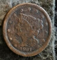 US 1852 BRAIDED HAIR HALF CENT   EARLY COPPER HALF PENNY  1840 1857