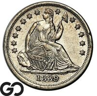 1839 SEATED LIBERTY HALF DIME CHOICE AU   COLLECTOR TYPE COI